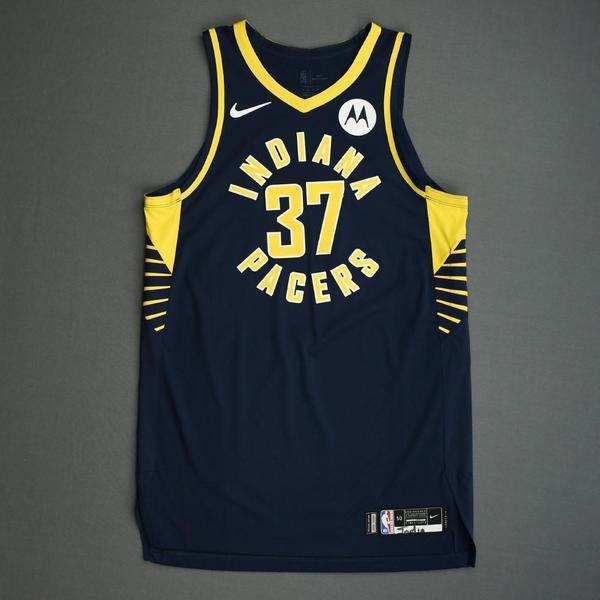 Image of Amida Brimah - Indiana Pacers - Game-Worn Icon Edition Jersey - NBA India Games - 2019-20 NBA Season
