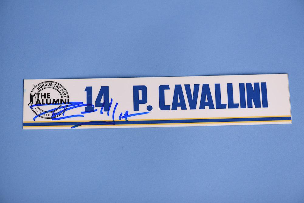 Paul Cavallini autographed 2020 NHL Alumni All Star Game Locker Room Stall Nameplate