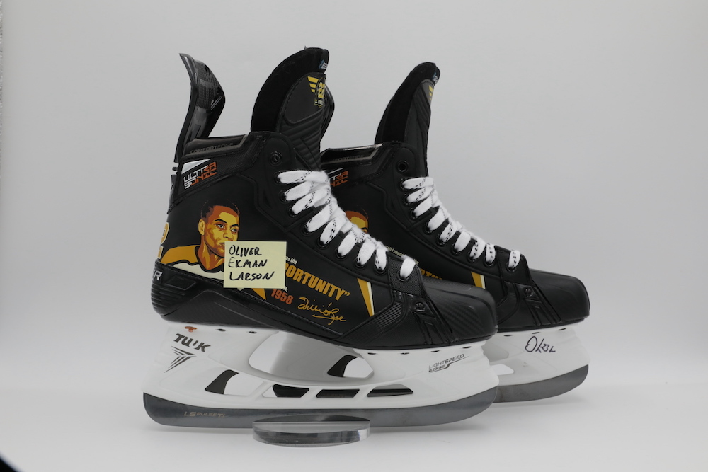 Willie O'Ree Custom Bauer Skates autographed and worn by Oliver Ekman Larsson during pregame warmups - Arizona Coyotes
