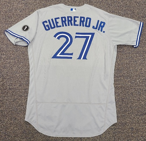 Photo of Authenticated Team Issued Jersey: #27 Vladimir Guerrero Jr. (2020 Season). Set 2. Size 48.