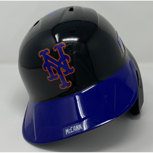 Photo of James McCann #33 - Game Used Batting Helmet with American Flag Decal - 20th Anniversary Ceremony of 9/11/2001 - 2-4, BB, 3 RBI's and 2 Runs Scored - Mets vs. Yankees - 9/11/21