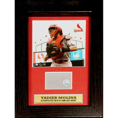 Photo of Cardinals Authentics: Cardinals Yadier Molina Plaque with Game-Used Jersey Swatch