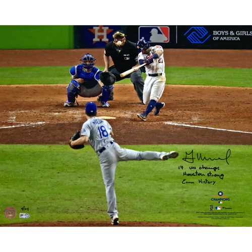 "Photo of Jose Altuve Houston Astros 2017 MLB World Series Champions Autographed 16"" x 20"" Photo With Multiple Inscriptions - #1 in a L.E. of 24"