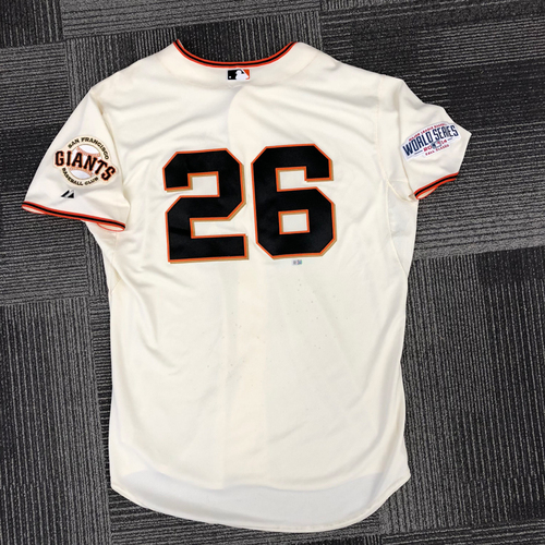 Photo of 2014 World Series Game Used Jersey - World Series Game 4 vs. Kansas City Royals - Used by #26 Mark Gardner - Size 50
