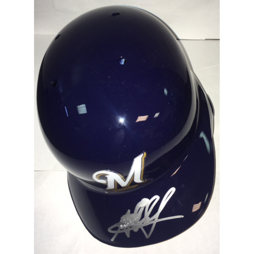 Photo of Jesus Aguilar Autographed Brewers Batting Helmet - Signature Smudged Reduced Price