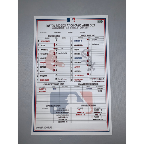 Photo of Boston Red Sox vs Chicago White Sox May 4, 2019 Game-Used Lineup Card - Red Sox Win 15 to 2
