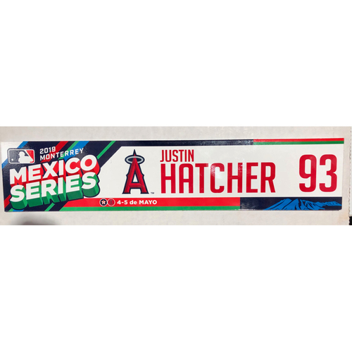 Photo of 2019 Mexico Series Game Used Locker Name Plate - Justin Hatcher, Houston Astros at Los Angeles Angels - 5/4/19 - 5/5/19