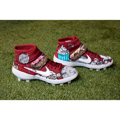 Photo of Adam Jones Custom Hand-Painted Space Day Themed Game-Used Cleats