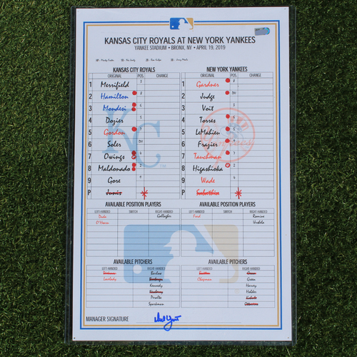 Photo of Game-Used Line-Up Card: CC Sabathia Nears 3,000-K Mark in 247th Victory (KC @ NYY - 4/19/19)