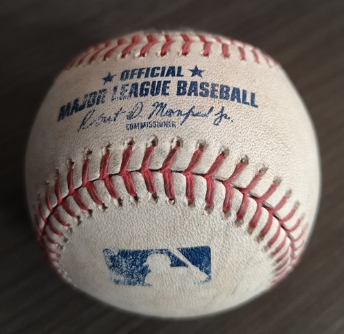 Photo of Authenticated Game Used Baseball - Double by Mookie Betts against Jacob Waguespack (Jul 3, 19 vs BOS). Top 5.