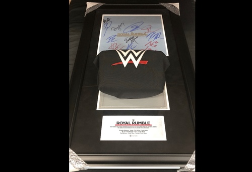 Photo of Royal Rumble 2018 SIGNED Used Ring Canvas and Turnbuckle Commemorative Plaque