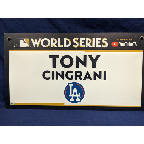 Photo of Team-Issued Tony Cingrani 2017 World Series Media Sign