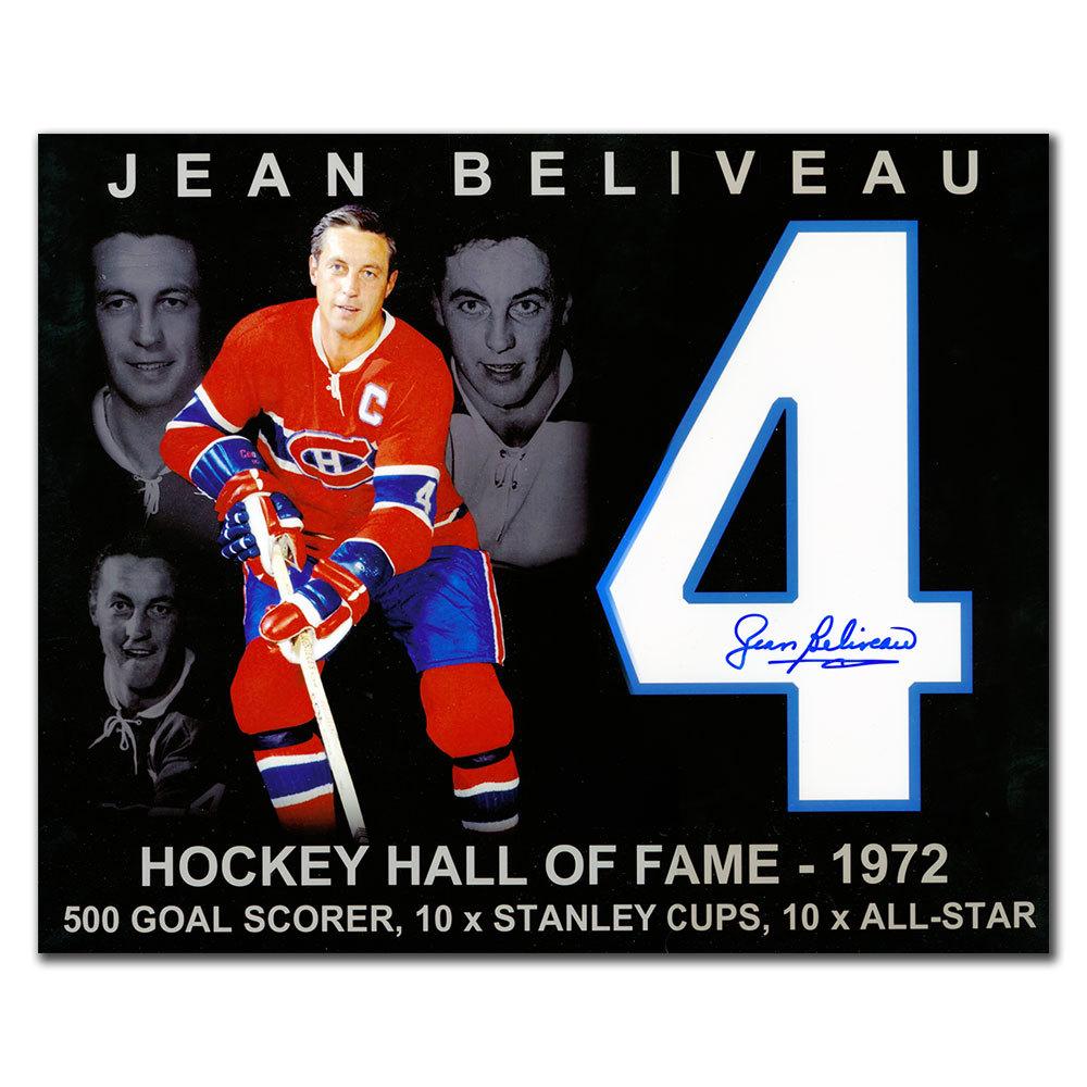 Jean Beliveau Montreal Canadiens HOF STATS Autographed 11x14
