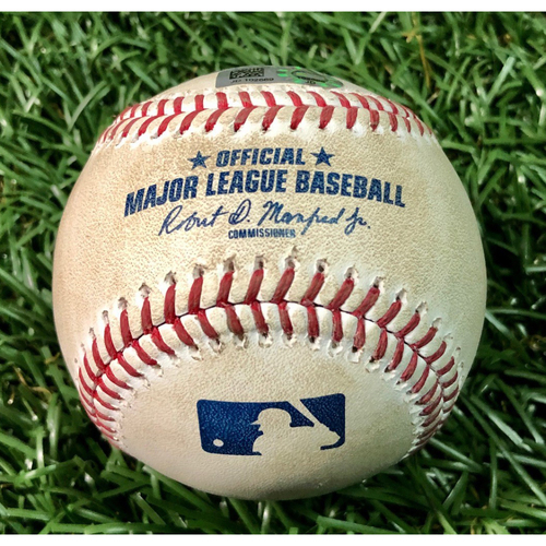 Photo of Game Used Baseball: Aaron Slegers (ND, 4.0IP, 0 H, 5 SO) strikes out Travis Shaw - August 22, 2020 v TOR