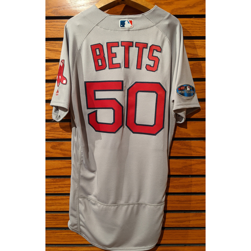 Photo of 2018 Postseason Mookie Betts #50 Team Issued Gray Road Jersey