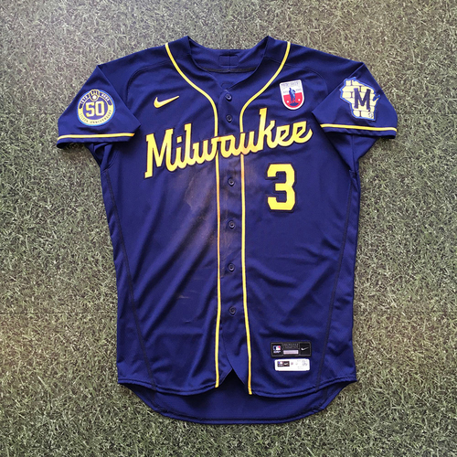 Photo of Orlando Arcia 08/16/20 Game-Used Road Navy Jersey - 3-4, 3B, HR, 2 RBI, 3 R
