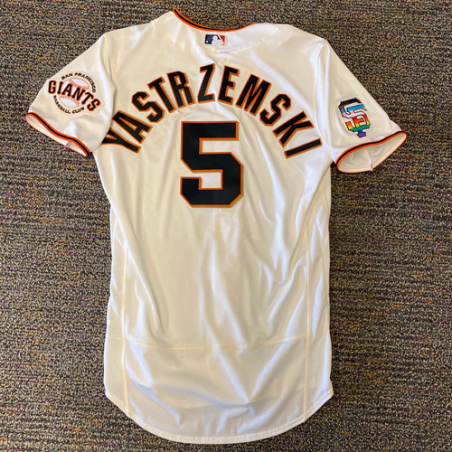 Photo of 2021 Team-Issued Home Cream Jersey with SF Logo Pride Patch - #5 Mike Yastrzemski - Size 42