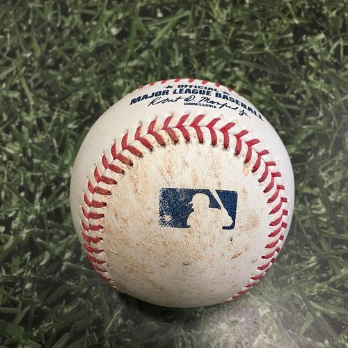 Photo of Game-Used Baseball ARI@MIL 06/04/21 - Matt Peacock - Christian Yelich: Single