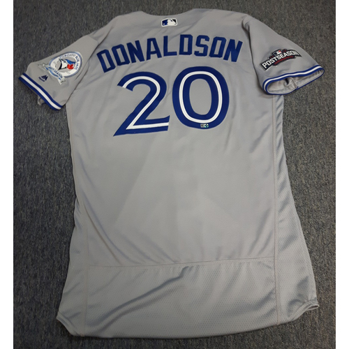 Photo of Authenticated Team Issued 2016 Postseason Jersey - #20 Josh Donaldson. Size 44.