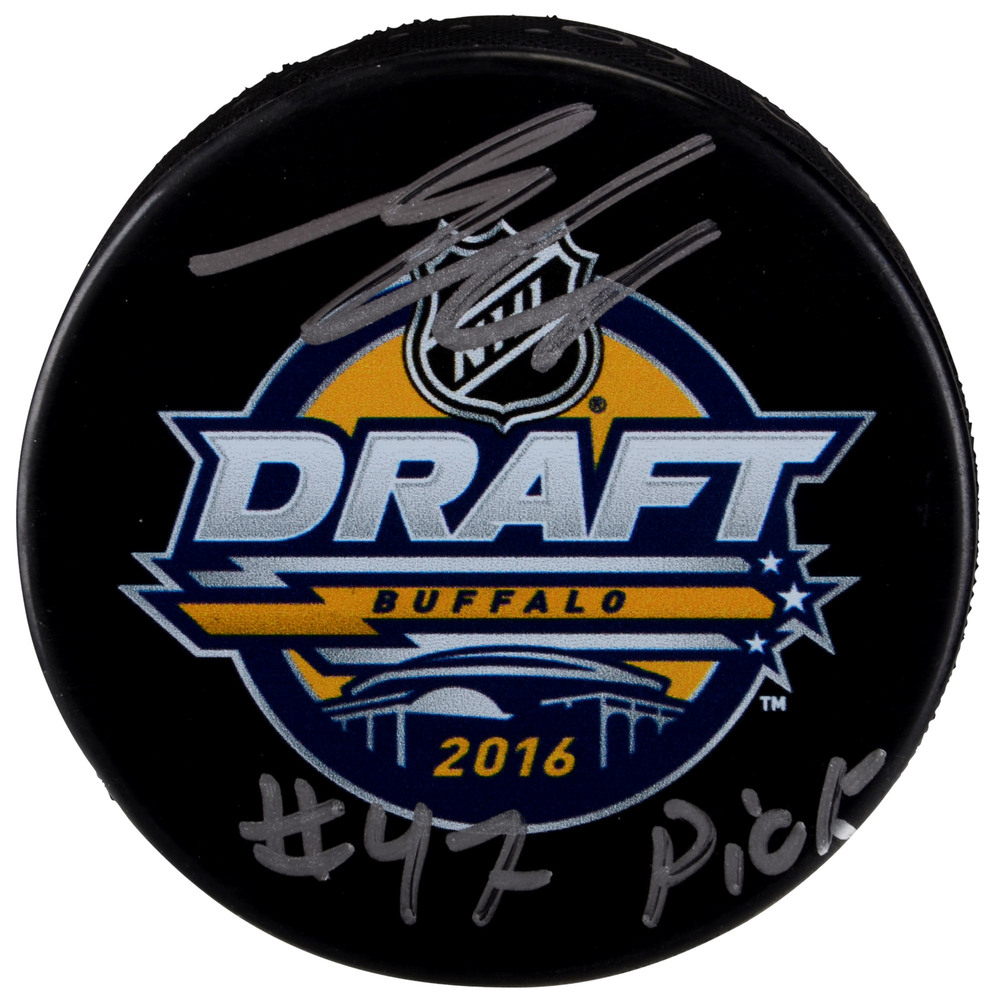 Samuel Girard Colorado Avalanche Autographed 2016 NHL Draft Logo Hockey Puck with #47 Pick Inscription