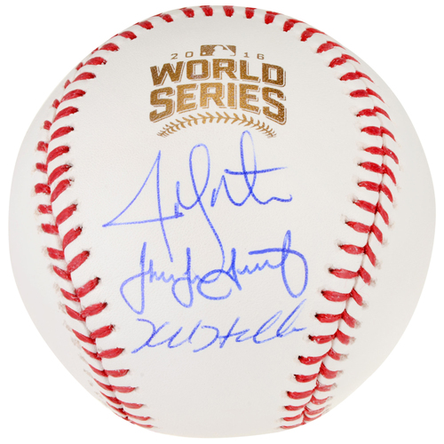 Photo of Jake Arrieta, Kyle Hendricks, and Jon Lester Chicago Cubs 2016 MLB World Series Champions Autographed World Series Logo Baseball