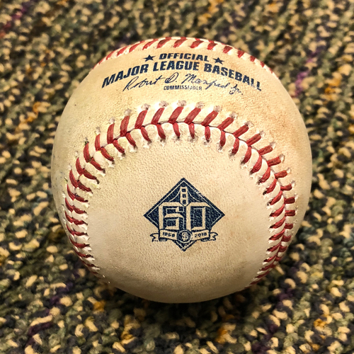 Photo of 2018 San Francisco Giants - 2018 Game Used Baseball - Austin Jackson Double - 4/7/2018 vs. Los Angeles Dodgers