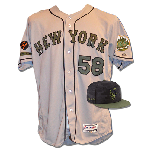 Photo of Dave Eiland #58 - Game Used Road Grey Memorial Day Jersey and Hat - Mets vs. Braves - 5/28/18