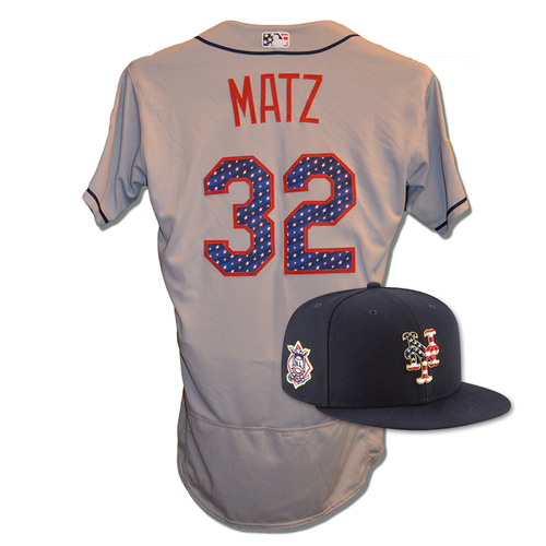 Photo of Steven Matz #32 - Game Used 4th of July Jersey and Hat - Mets vs. Blue Jays - 7/4/18