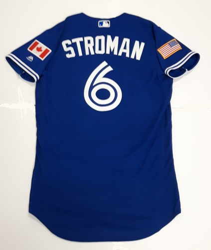 Photo of Authenticated Game Used 2018 Independence Day Jersey (July 4, 2018) - #6 Marcus Stroman: 4.2 IP, 6 Hits, 6 ER, 4 BB, 2 Ks. Losing Pitcher. Size 42.