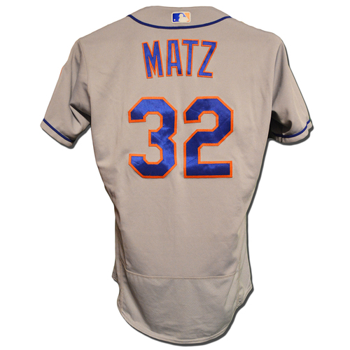 Photo of Steven Matz #32 - Game Used Road Grey Jersey - 5 IP, 4 K's, 0 Runs - Mets vs. Phillies - 9/18/18