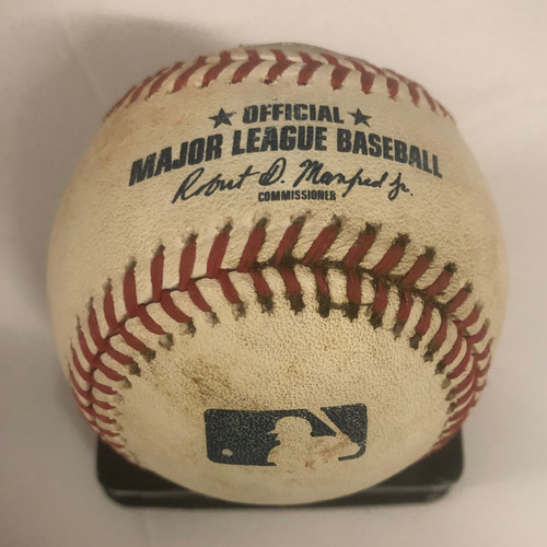Photo of Dansby Swanson Game-Used RBI Double Baseball - Kolby Allard MLB Debut 7/31/18