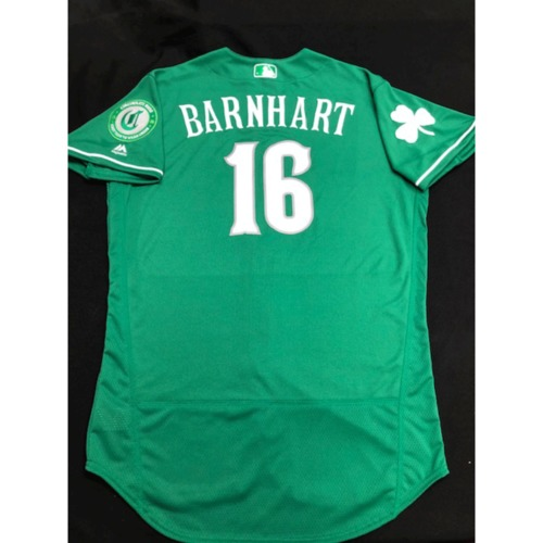 Photo of Tucker Barnhart -- Team-Issued Jersey -- 2019 St. Patrick's Day