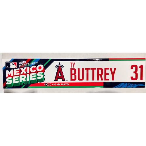 Photo of 2019 Mexico Series Game Used Locker Name Plate - Ty Buttrey, Houston Astros at Los Angeles Angels - 5/4/19 - 5/5/19