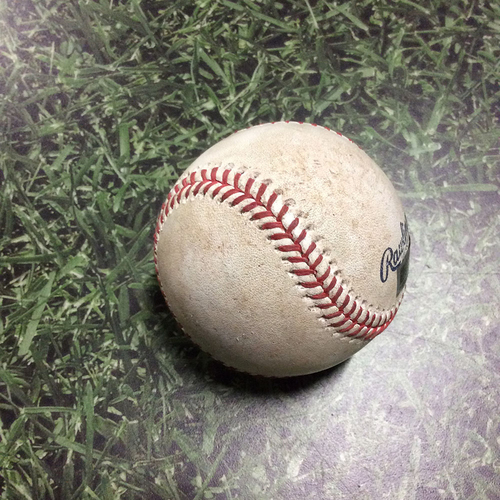 Photo of Game-Used Baseball NLCS Game 7 LAD@MIL 10/20/18 - Jhoulys Chacin - Joc Pederson: Groundout