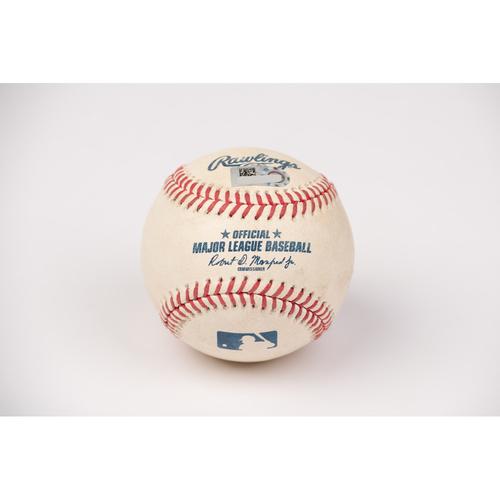 Photo of Game Used Baseball: Pitcher: Sean Manaea, Batter: Anthony Rendon - 2-Run Home Run - Bot 1 - 8-10-2020 vs. OAK