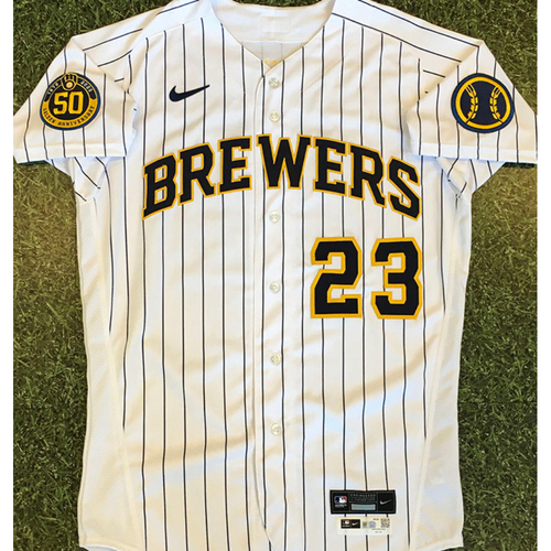 Photo of Keon Broxton 2020 Team-Issued Home Pinstripe Jersey