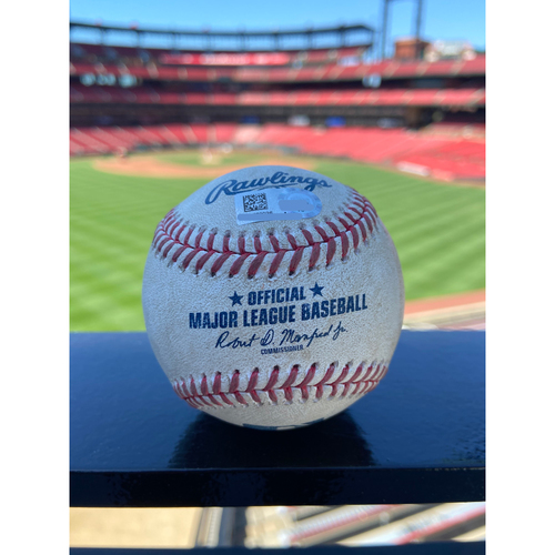 Photo of Cardinals Authentics: Game Used Pitched Baseball by David Hale to Edmundo Sosa *Wild Pitch Tyler O'Neill Scores* - 4/29/21 vs. PHI