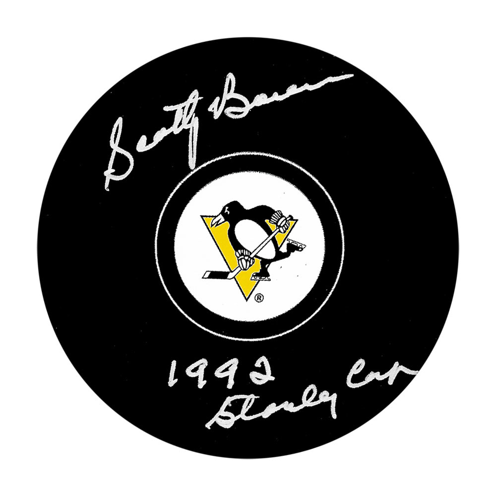 Scotty Bowman Autographed Pittsburgh Penguins Puck w/92 STANLEY CUP Inscription