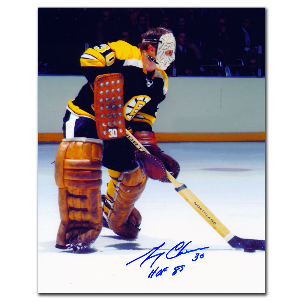 Gerry Cheevers Boston Bruins HOF ACTION Autographed 8x10