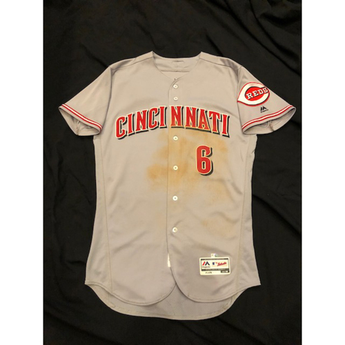 Photo of Billy  Hamilton -- Game-Used Jersey -- Stolen Base Jersey, Worn Throughout 2017 Season