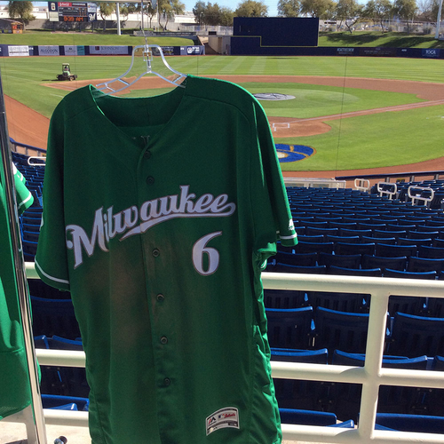 Photo of Lorenzo Cain Team-Issued 2018 St. Patrick's Day Jersey