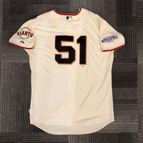 Photo of 2014 World Series Team Issued Jersey - World Series Game 4 vs. Kansas City Royals - Team Issued to #51 Erik Cordier - Size 50