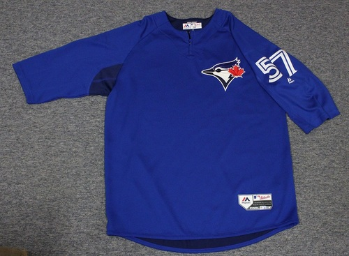 Photo of Authenticated Team Issued Batting Practice Jersey - #57 Jaime Garcia. Size L.