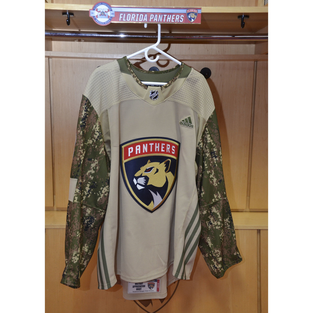 #19 Mike Matheson Warm-Up Worn and Autographed Military Jersey
