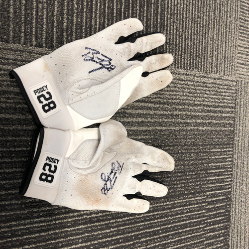 Photo of 2018 Autographed Team Issued Batting Gloves - #28 Buster Posey