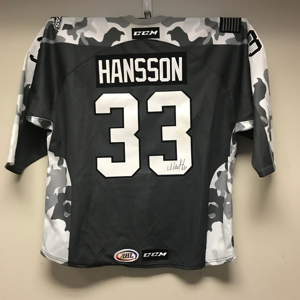Texas Stars Camo Jersey Worn and Signed by #33 Niklas Hansson