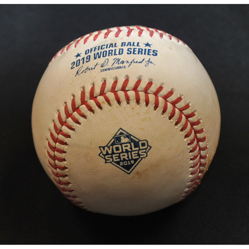 Photo of Game-Used Baseball: 2019 World Series - Game 1: Pitcher: Gerrit Cole, Batter: Trea Turner (Single) - Top 1