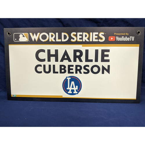 Photo of Team-Issued Charlie Culberson 2017 World Series Media Sign