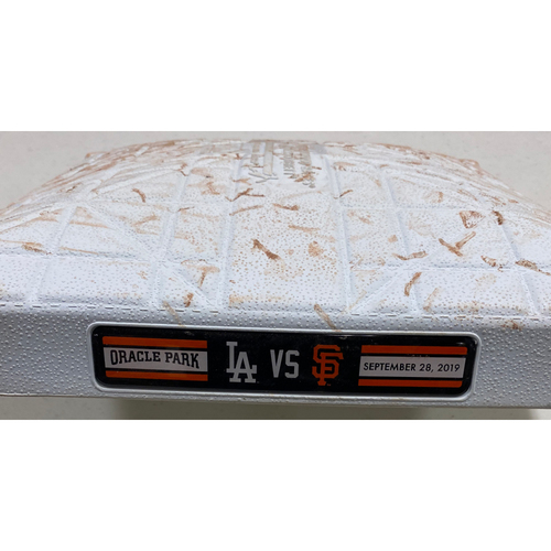 Photo of 2019 Game Used Base used on 9/28 vs. LAD - 1st Base from Innings 1-3