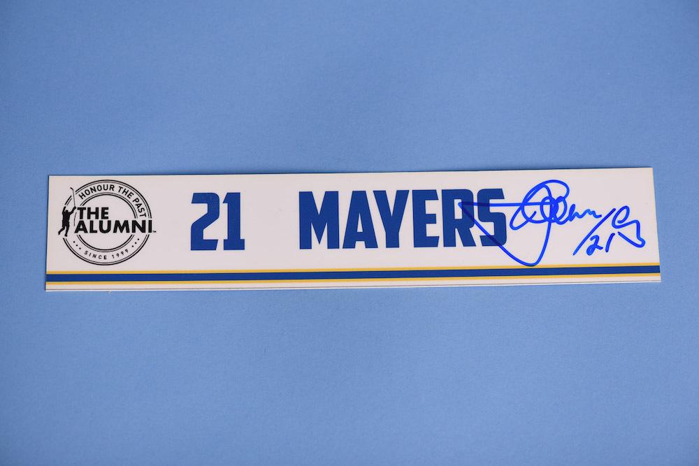 Jamal Mayers autographed 2020 NHL Alumni All Star Game Locker Room Stall Nameplate